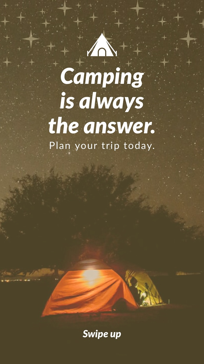 Camping is always the answer. Mensagens de boa noite