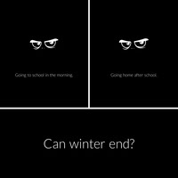 Black and White Winter and School Instagram Square Meme Meme