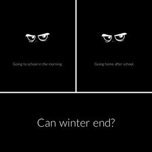Black and White Winter and School Instagram Square Meme Meme