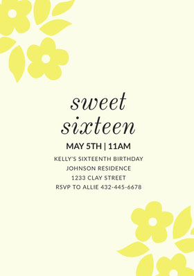 Yellow Floral Sweet Sixteen Birthday Invitation Card Birthday Invitation