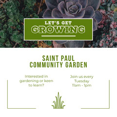 Green and White Community Garden Instagram Graphic Garden