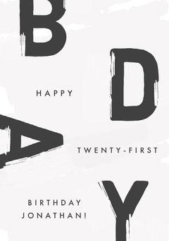 Black and White, Modern, Birthday Wishes Card Birthday