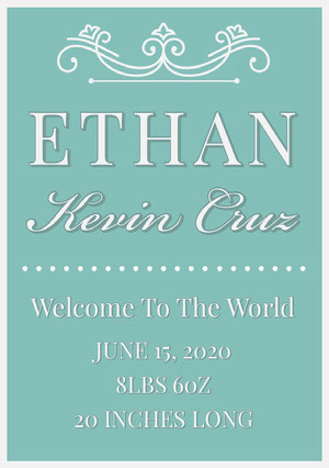 Green Boy Birth Announcement Card Birth Announcement