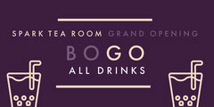 Beige and Violet Tea Room Advertisement Bogo