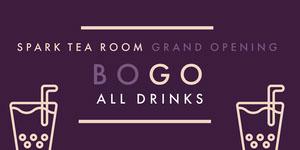 Beige and Violet Tea Room Advertisement Ads Banner