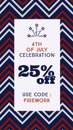 White With Striped Pattern Shop Sale Social Post 4th of July