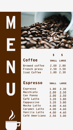 Brown Coffee Menu Instagram Story Drink Menu
