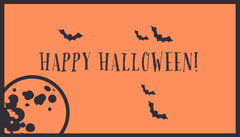 Orange Bats and Moon Halloween Party Gift Tag Halloween Gift Tag