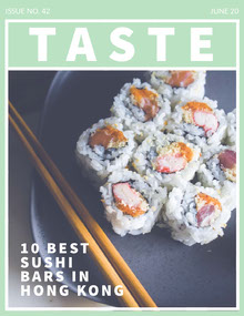 Green Taste Sushi Food Magazine Cover Magazine Cover