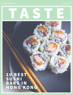 Green Taste Sushi Food Magazine Cover Japan