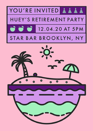 Pink Beach Themed Retirement Party Invitation Party Invitation