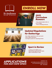 Red and Yellow High School Newsletter Newsletter Examples