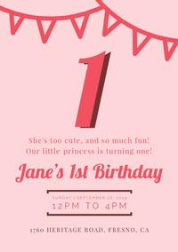 girlsbirthdaypartyinvitation 1st Birthday Invitation