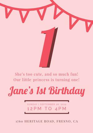 girlsbirthdaypartyinvitation 첫 번째 생일 초대장