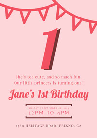girlsbirthdaypartyinvitation 1st Birthday Invitation