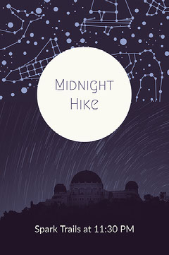 Dark Blue and White Midnight Hike Modern Poster Hike