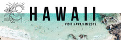 White Blue and Black Hawaii Banner Vacation