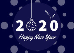 Blue and White Happy New Year 2020 Card  Christmas Party
