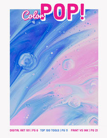 Pink and Blue Abstract Graphic Design Magazine Cover Magazine Cover