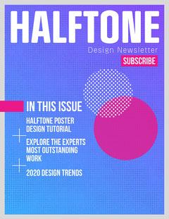 Purple & Blue Gradient Halftone Abstract Newsletter Designer