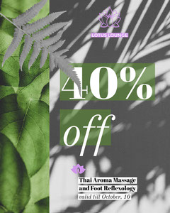 Green and Black and White Spa Instagram Portrait Ad with Plants and Leaves Massage Flyer