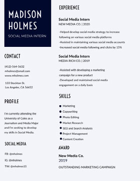 Black and White Journalist and Social Media Marketing Specialist Resume CV professionnel