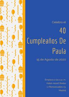 40 <BR>Cumpleaños De <BR>Paula  Invitación