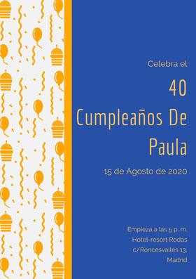40 <BR>Cumpleaños De <BR>Paula  Invitación de cumpleaños