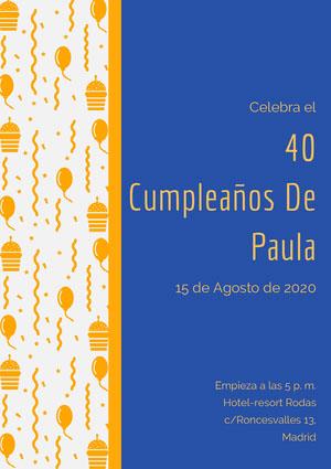 40 <BR>Cumpleaños De <BR>Paula  Invitación de fiesta
