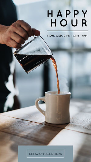 Grey With Fresh Coffee Social Post Happy Hour Invitations