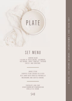 White and Grey Plate Menu Drink Menu