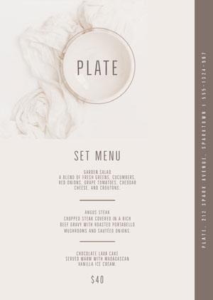 White and Grey Plate Menu Drink Menu
