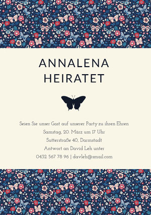 butterfly patterned wedding invitations  E-Mail-Einladung