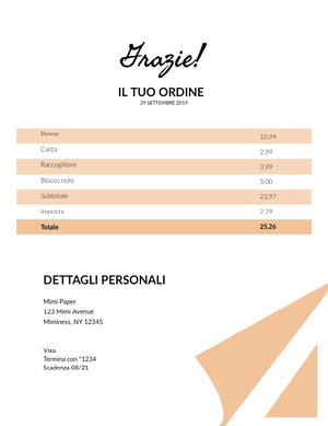stationery invoice  Fattura