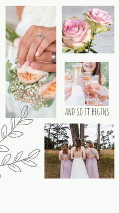 White and Pink Wedding Collage Instagram Story Will You Be My Bridesmaid Card