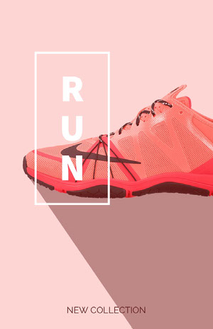 Pink and Red Minimalist New Sports Shoe Collection Ad 50 Modern Fonts