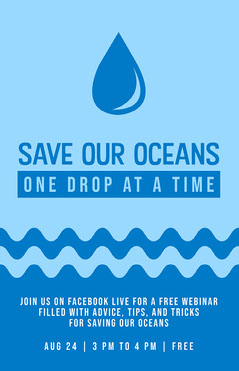 Blue and White Save Our Oceans Poster Earth