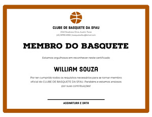 MEMBRO DO BASQUETE  Diploma