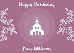 Violet and White Happy Christening Card Religion