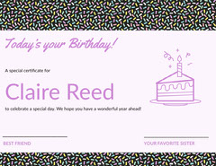 Pink Illustrated Birthday Certificate with Sprinkles and Cake Cakes