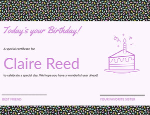 Pink Illustrated Birthday Certificate with Sprinkles and Cake Birthday Certificate