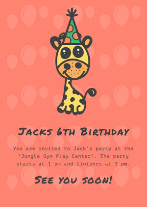 Pink and Yellow Jacks's Birthday Card Party Invitation