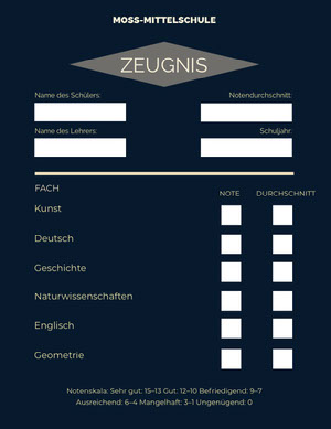 dark blue middle school report cards  Zeugnis