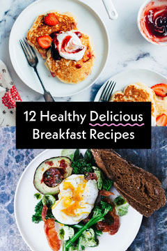 Breakfast Recipes Pinterest Graphic with Flat Lay Food Photo Breakfast