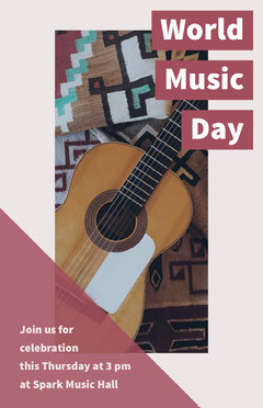Red World Music Day Concert Poster with Acoustic Guitar Music