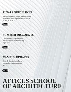 White Modern Minimal Architecture School Newsletter Architecture