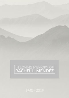 Gray Funeral Invitation Card with Mountains Mountains