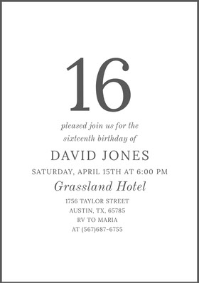 Gray Sweet Sixteen Birthday Invitation Card Birthday Invitation