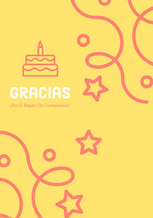 yellow and pink confetti thank you cards  Tarjeta de cumpleaños