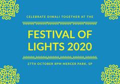 Blue and Yellow, Diwali Celebration Invitation Card Festival